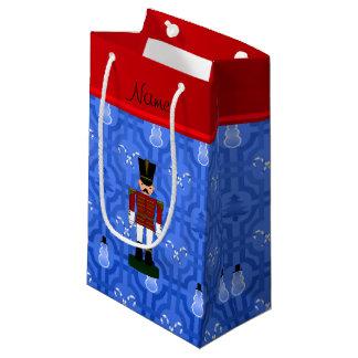 Enrejado azul personalizado del muñeco de nieve bolsa de regalo pequeña