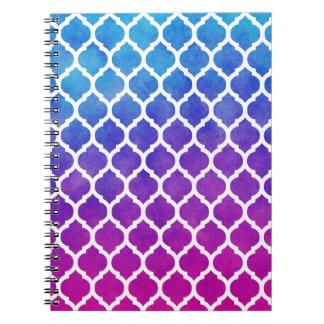 Enrejado azul púrpura rosado del marroquí de Ombre Cuadernos