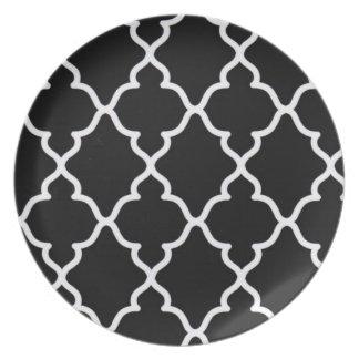 Enrejado blanco y negro. .plate plato