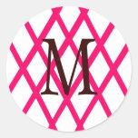 Enrejado con monograma moderno en rosa pegatinas redondas