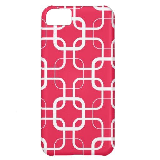 Enrejado del rojo cereza funda para iPhone 5C