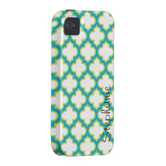 Enrejado elegante azul y verde personalizado iPhone 4/4S carcasa