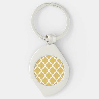 Enrejado marroquí amarillo de la teja de Misted Llavero Plateado En Forma De Espiral