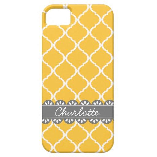 Enrejado marroquí amarillo de moda y cordón gris iPhone 5 cárcasas