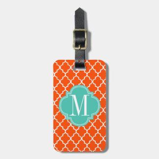 Enrejado marroquí anaranjado de las tejas personal etiqueta para maleta