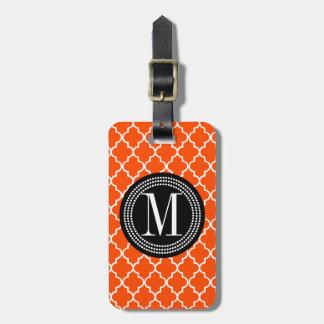 Enrejado marroquí anaranjado de las tejas personal etiquetas bolsa