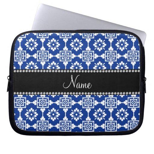 Enrejado marroquí azul conocido personalizado manga computadora