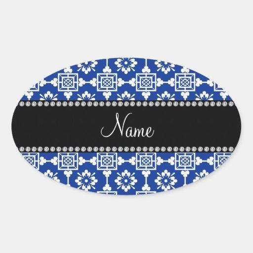 Enrejado marroquí azul conocido personalizado calcomania de oval