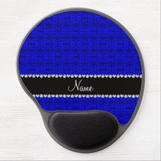 Enrejado marroquí azul de neón conocido personaliz alfombrilla de raton con gel