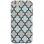 Enrejado marroquí, celosía - negro del gris azul funda de iPhone 6 plus tough