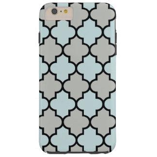 Enrejado marroquí, celosía - negro del gris azul funda para iPhone 6 plus tough