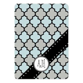 Enrejado marroquí, celosía - negro del gris azul tarjetas de visita grandes