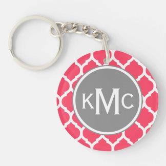 Enrejado marroquí con monograma gris rosado llavero redondo acrílico a doble cara