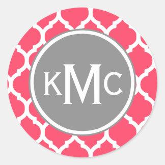 Enrejado marroquí con monograma gris rosado pegatina redonda