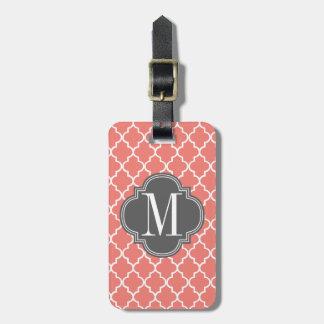 Enrejado marroquí coralino de las tejas personaliz etiquetas maleta