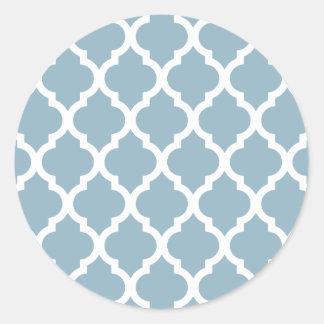 Enrejado marroquí de la teja del Aquamarine Pegatina Redonda