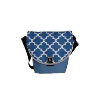 Enrejado marroquí de la teja del azul de cobalto bolsas de mensajería