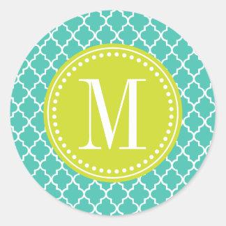 Enrejado marroquí de las tejas de la turquesa etiquetas redondas