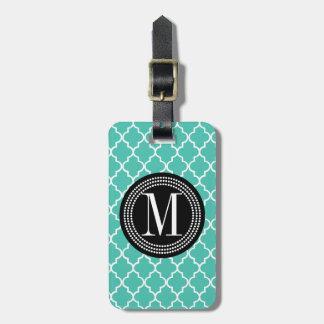 Enrejado marroquí de las tejas de la turquesa pers etiquetas maleta