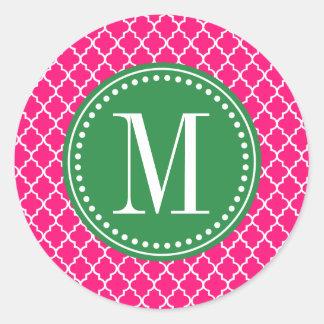 Enrejado marroquí de las tejas de las rosas pegatina redonda