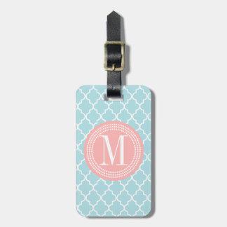 Enrejado marroquí de las tejas de los azules cielo etiquetas bolsa