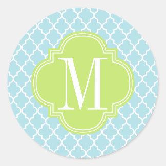 Enrejado marroquí de las tejas de los azules pegatina redonda