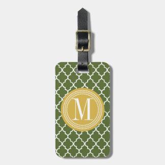 Enrejado marroquí del verde verde oliva personaliz etiquetas maletas