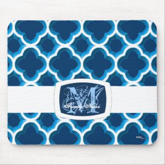 Enrejado marroquí embellecido (azul) tapetes de ratón
