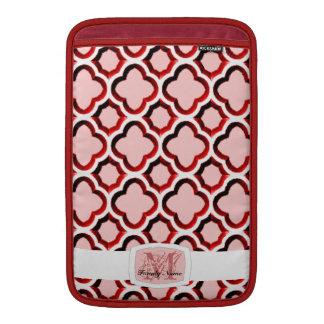 Enrejado marroquí embellecido (rojo) (monograma) funda  MacBook
