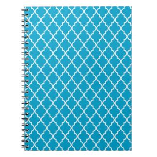 Enrejado marroquí hawaiano del azul de océano y bl libreta espiral