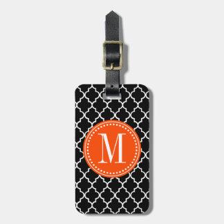 Enrejado marroquí negro elegante personalizado etiqueta para equipaje