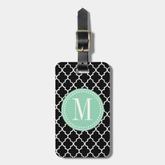 Enrejado marroquí negro elegante personalizado etiqueta de equipaje