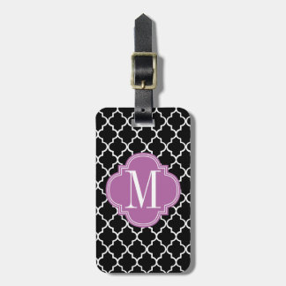 Enrejado marroquí negro elegante personalizado etiqueta para maleta