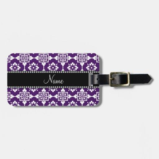 Enrejado marroquí púrpura conocido personalizado etiquetas para maletas