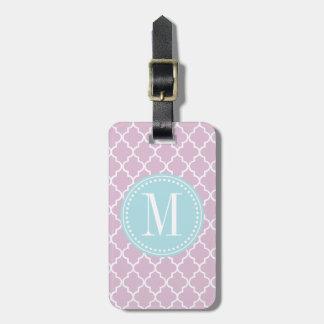 Enrejado marroquí púrpura de las tejas de la lila etiqueta para equipaje