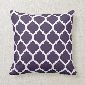 Enrejado marroquí púrpura y blanco cojines