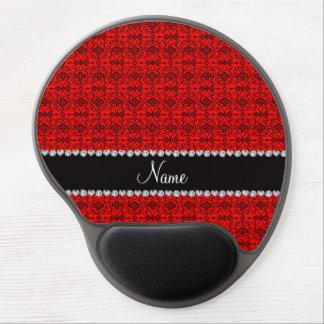 Enrejado marroquí rojo de neón conocido personaliz alfombrilla con gel