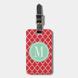 Enrejado marroquí rojo elegante personalizado etiqueta para maleta