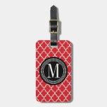 Enrejado marroquí rojo elegante personalizado etiquetas maleta