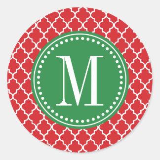 Enrejado marroquí rojo elegante personalizado pegatina redonda