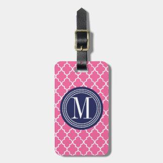 Enrejado marroquí rosado femenino de las tejas per etiqueta de maleta