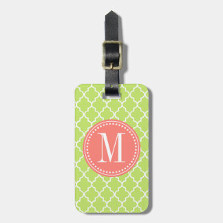 Enrejado marroquí verde de las tejas personalizado etiquetas maletas