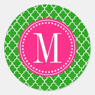 Enrejado marroquí verde oscuro de las tejas pegatina redonda