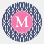 Enrejado moderno de los azules marinos elegantes c etiquetas redondas