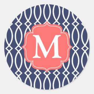 Enrejado moderno de los azules marinos elegantes pegatina redonda