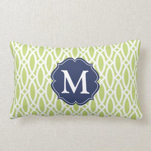 Enrejado moderno verde elegante personalizado almohada