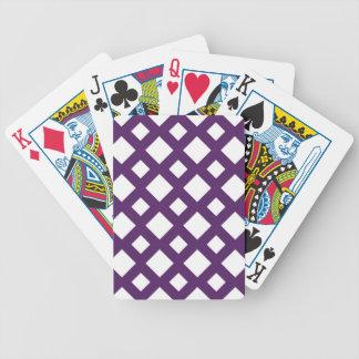 Enrejado púrpura en blanco baraja de cartas