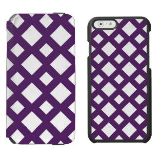 Enrejado púrpura en blanco funda billetera para iPhone 6 watson