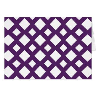 Enrejado púrpura en blanco tarjeta de felicitación