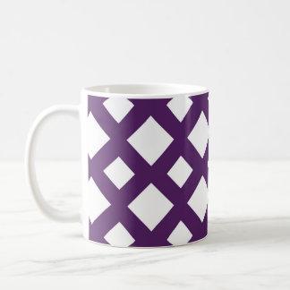 Enrejado púrpura en blanco taza de café